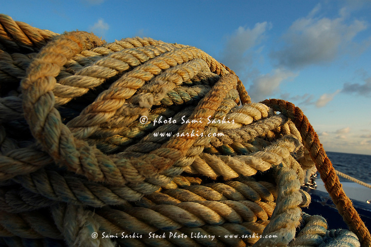 Piles of ropes on a boat deck, Maldives.