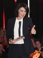 NON EXCLUSIVE PICTURE: MATRIXPICTURES.CO.UK<br /> PLEASE CREDIT ALL USES<br /> <br /> WORLD RIGHTS<br /> <br /> British television presenter Emma Willis is pictured as she hosts the 2013 Big Brother first eviction night, in London.<br /> <br /> Sallie Axl is the first person to be evicted from the Big Brother House, along with undercover actor Michael.<br /> <br /> JUNE 21st 2013<br /> <br /> REF: GBH 134294