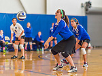 18 October 2015: Yeshiva University Maccabee Right Side and Outside Hitter Ilana Leggiere, a Sophomore from New York, NY, bumps during game action against the Sage College Gators, at the Peter Sharp Center, College of Mount Saint Vincent, in Riverdale, NY. The Gators defeated the Maccabees 3-0 in the NCAA Division III Women's Volleyball Skyline matchup. Mandatory Credit: Ed Wolfstein Photo *** RAW (NEF) Image File Available ***