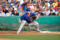 St. Lucie Mets first baseman Peter Alonso (20) stretches for a throw during a game against the Florida Fire Frogs on July 23, 2017 at Osceola County Stadium in Kissimmee, Florida.  St. Lucie defeated Florida 3-2.  (Mike Janes/Four Seam Images)