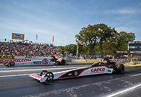 Jun 11, 2017; Englishtown , NJ, USA; NHRA top fuel driver Steve Torrence (near) defeats Antron Brown in the final round of the Summernationals at Old Bridge Township Raceway Park. Mandatory Credit: Mark J. Rebilas-USA TODAY Sports