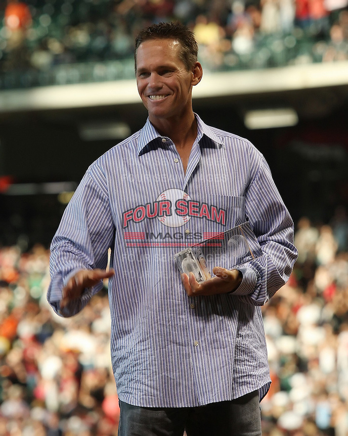 The Houston Astros announced today that the club will retire the No. 7 worn by former seven-time All-Star Craig Biggio in a pregame ceremony before the Astros-Diamondbacks game on Sunday, August 17. The announcement was made by Astros Chairman and CEO Drayton McLane on Friday May 23rd at Minute Maid Park in Houston, Texas. Photo by Andrew Woolley / Four Seam Images.