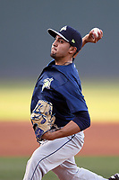 Starting pitcher Marcel Renteria (24) of the Columbia Fireflies delivers a pitch in a game against the Greenville Drive on Tuesday, April 17, 2018, at Fluor Field at the West End in Greenville, South Carolina. He struck out seven batters in 5.1 innings. (Tom Priddy/Four Seam Images)