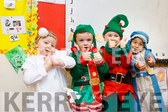 The performing artists at the Balloonagh National School Play on Monday night last, from the infants class are, l-r Aoibheann Duncan, Adam O'Sullivan, Gerry McDonald and Kiries Ac Hadai.