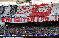 25.05.2013, Wembley Stadion, London, ENG, UEFA Champions League, FC Bayern Muenchen vs Borussia Dortmund, Finale, im Bild Choreographie FC Bayern Fans - Ein guter Tag // during the UEFA Champions League final match between FC Bayern Munich and Borussia Dortmund at the Wembley Stadion, London, United Kingdom on 2013/05/25. EXPA Pictures © 2013, PhotoCredit: EXPA/ Eibner/ Gerry Schmit<br /> <br /> ***** ATTENTION - OUT OF GER ***** <br /> 25/5/2013 Wembley<br /> Football 2012/2013 Champions League<br /> Finale <br /> Borussia Dortmund Vs Bayern Monaco <br /> Foto Insidefoto