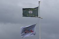 Flags at the club house during Round 3 Foursomes of the Men's Home Internationals 2018 at Conwy Golf Club, Conwy, Wales on Friday 14th September 2018.<br /> Picture: Thos Caffrey / Golffile<br /> <br /> All photo usage must carry mandatory copyright credit (&copy; Golffile | Thos Caffrey)