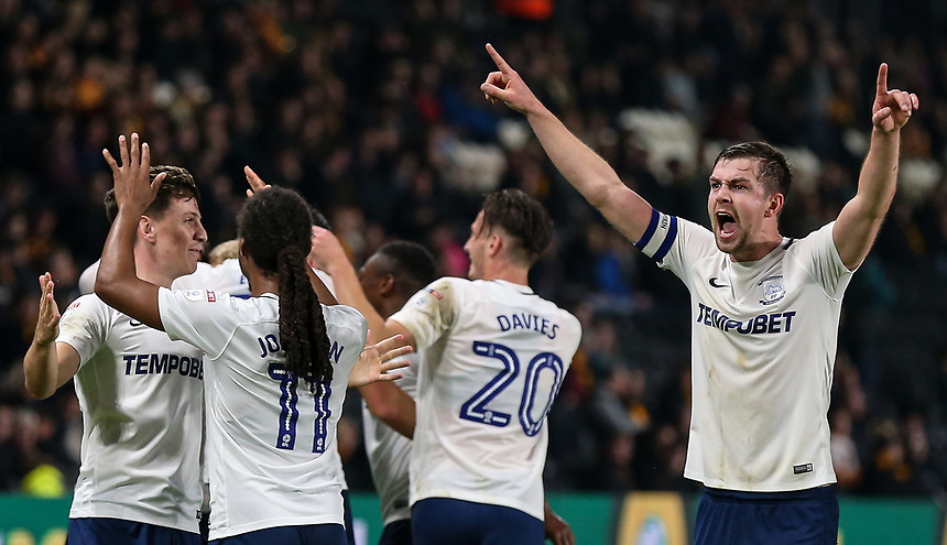 Preston North End players celebrate scoring their  second and winning goal <br /> <br /> Photographer Andrew Kearns/CameraSport<br /> <br /> The EFL Sky Bet Championship - Hull City v Preston North End - Tuesday 26th September 2017 - KC Stadium - Hull<br /> <br /> World Copyright &copy; 2017 CameraSport. All rights reserved. 43 Linden Ave. Countesthorpe. Leicester. England. LE8 5PG - Tel: +44 (0) 116 277 4147 - admin@camerasport.com - www.camerasport.com