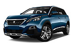 Stock pictures of low aggressive front three quarter view of a 2017 Peugeot 5008 GT Line 5 Door SUV