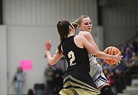 Elkins Ashley Brink (11) drives the ball past Charleston guard Brooklyn Groen (2), Friday, February 14, 2020 during a basketball game at Elkins High School in Elkins. Check out nwaonline.com/prepbball/ for today's photo gallery.<br /> (NWA Democrat-Gazette/Charlie Kaijo)