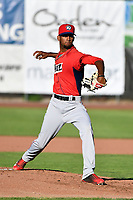 Orem Owlz starting pitcher Cristopher Molina (20) delivers a pitch to the plate against the Ogden Raptors in Pioneer League action at Lindquist Field on June 22, 2017 in Ogden, Utah. The Owlz defeated the Raptors 13-8.  (Stephen Smith/Four Seam Images)