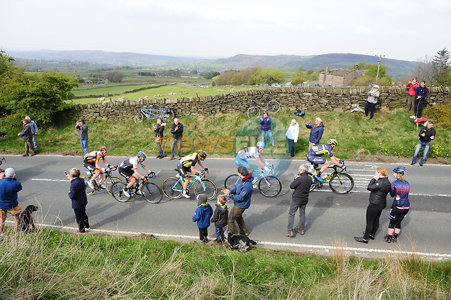 The breakaway group featuring Jonathan McEvoy Madison Genesis, Steven Lammertink Lotto NL-Jumbo, Mathew Hayman (AUS) Orica-Scott, Gatis Smukulis Delko Marseille Provence KTM and Pieter Weening Roompot-Nederlandse Loterij in action during Stage 3 of the Tour de Yorkshire 2017 running 194.5km from Bradford/Fox Valley to Sheffield, England. 30th April 2017. <br /> Picture: ASO/P.Ballet | Cyclefile<br /> <br /> <br /> All photos usage must carry mandatory copyright credit (&copy; Cyclefile | ASO/P.Ballet)
