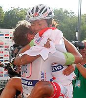 John Degenkolb (l) and Yukihiro Doi celebrates the end of LaVuelta after the stage of La Vuelta 2012 beetwen Cercedilla and Madrid.September 9,2012. (ALTERPHOTOS/Paola Otero)