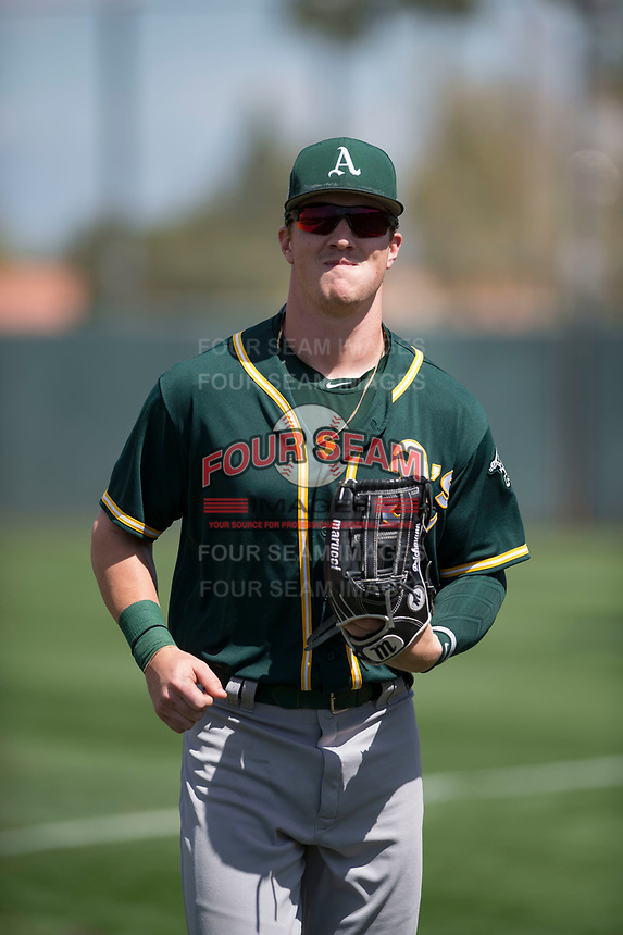 Oakland Athletics right fielder Greg Deichmann (26) during a Minor League Spring Training game against the San Francisco Giants at Lew Wolff Training Complex on March 26, 2018 in Mesa, Arizona. (Zachary Lucy/Four Seam Images)