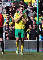 Pictured: Norwich captain Russell Martin after he missed an opportunity to score. Saturday 06 April 2013<br /> Re: Barclay's Premier League, Norwich City FC v Swansea City FC at the Carrow Road Stadium, Norwich, England.