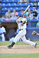Asheville Tourists second baseman Taylor Snyder (28) swings at a pitch during a game against the Greensboro Grasshoppers at McCormick Field on May 10, 2018 in Asheville, North Carolina. The Tourists defeated the Grasshoppers 14-10. (Tony Farlow/Four Seam Images)