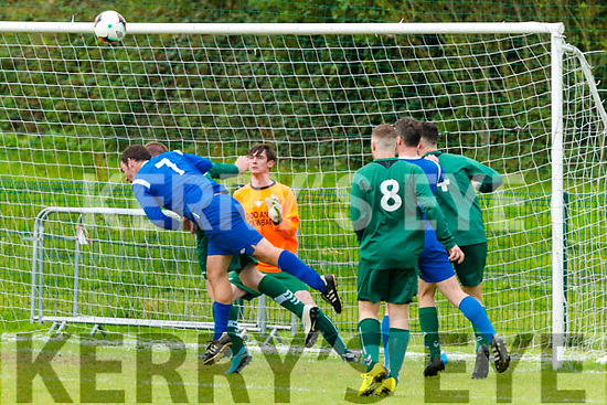 Header from Brian O'Reilly (Killarney Athletic FC) at the Munster Champions Trophy Soccer Quarter Final- Killarney Athletic FC vs Doolans Cow FC in Killarney last Sunday.