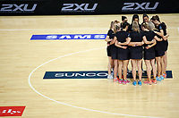14.10.2017 Silver Ferns have a team huddle during the Constellation Cup netball match between the Silver Ferns and Australia at QudosBank Arena in Sydney. Mandatory Photo Credit ©Michael Bradley.