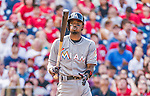 30 August 2015: Miami Marlins infielder Dee Gordon in action up against  the Washington Nationals at Nationals Park in Washington, DC. The Nationals defeated the Marlins 7-4 in the third game of their 3-game weekend series. Mandatory Credit: Ed Wolfstein Photo *** RAW (NEF) Image File Available ***
