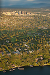 Aerial view of Bellvue skyline at sunset