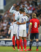 Lewis Baker (Vitesse Arnhem, loan from Chelsea) of England & Nathaniel Chalobah (Chelsea) of England celebrate with goalscorer Ruben Loftus-Cheek (Chelsea) of England during the International EURO U21 QUALIFYING - GROUP 9 match between England U21 and Norway U21 at the Weston Homes Community Stadium, Colchester, England on 6 September 2016. Photo by Andy Rowland / PRiME Media Images.
