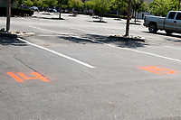 LOS ANGELES - APR 11:  Chili's Numbered Parking Spots for Curbside Pick-up at the Businesses reacting to COVID-19 at the Hospitality Lane on April 11, 2020 in San Bernardino, CA