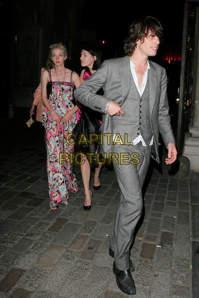 PORTIA FREEMAN, BEN GRIMES & JACKSON SCOTT .Leaving The Royal Academy of Arts Summer Exhibition 2008 preview party at Royal Academy of Arts in London, England..June 4th, 2008.full length floral print long maxi dress grey gray suit waistcoat pink blue white .CAP/AH.©Adam Houghton/Capital Pictures.