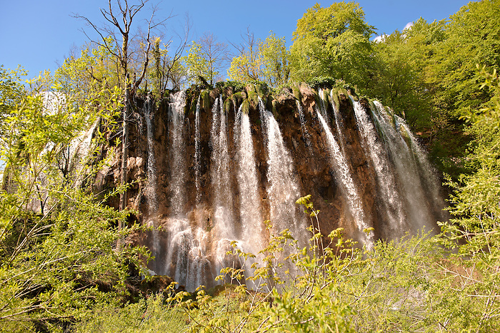 Waterfall over the travatine rocks of the Plitvince lakes, Croatia, A UNESCO World Heritage Site