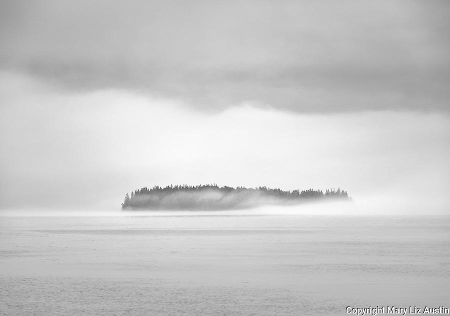 Deer Isle, Maine: Eastern Mark Island in mist and fog
