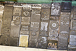 Galleys of hot-metal art ready for use by Dean Coombs, third generation newspaperman in composing the Saguache Crescent Newspaper, last of the hot metal newspapers in the U.S.