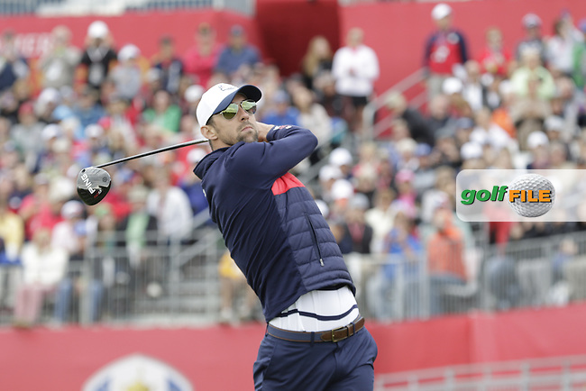 Olympic swimmer Michael Phelps playing in Match 2 of the Ryder Cup Celebrity Matches during Tuesday's Practice Day of the 41st RyderCup held at Hazeltine National Golf Club, Chaska, Minnesota, USA. 27th September 2016.<br /> Picture: Eoin Clarke   Golffile<br /> <br /> <br /> All photos usage must carry mandatory copyright credit (&copy; Golffile   Eoin Clarke)