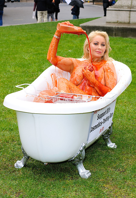 WWW.ACEPIXS.COM . . . . .  ..... . . . . US SALES ONLY . . . . .....April 23 2012, London....Victoria Eisermann, PETA's 2007 Sexiest Vegetarian in Europe poses for photos in a bathtub filled with fake blood to protest the EU's postponement of banning the sale of cosmetics containing ingredients tested on animals on April 23 2012 in London.....Please byline: FAMOUS-ACE PICTURES... . . . .  ....Ace Pictures, Inc:  ..Tel: (212) 243-8787..e-mail: info@acepixs.com..web: http://www.acepixs.com