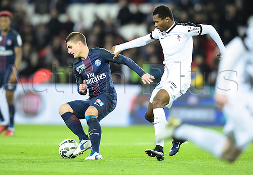11.01.2017. Paris, France. French league cup football, Paris Saint Germain versus FC Metz.  Marco Verrati ( PSG ) turns away from the challenge from Habib Diallo ( Metz )