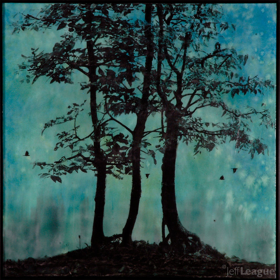 Blue tree evening silhouette encaustic photo transfer by Jeff League.