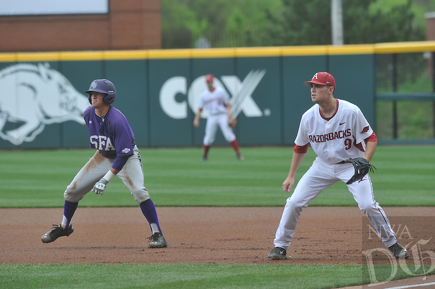NWA Democrat-Gazette/Michael Woods --04/15/2015--w@NWAMICHAELW...  University of Arkansas vs Stephen F. Austin during Wednesday nights game at Baum Stadium in Fayetteville.