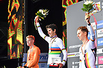 The final podium silver Enzo Leijnse of The Netherlands, gold Antonio Tiberi of Italy and bronze Marco Brenner of Germany on the podium at the end of the Men Junior Individual Time Trial of the UCI World Championships 2019 running 27.6km from Harrogate to Harrogate, England. 23rd September 2019.<br /> Picture: Simon Wilkinson/SWPix.com | Cyclefile<br /> <br /> All photos usage must carry mandatory copyright credit (© Cyclefile | Simon Wilkinson/SWPix.com)