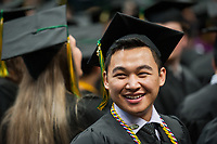Jonathan Capua, CIVL BS, before receiving his degree during the UAA Spring 2018 Commencement at the Alaska Airlines Center.
