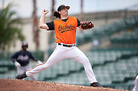 GCL Orioles pitcher Jonathan Pendergast (45) during a Gulf Coast League game against the GCL Braves on August 5, 2019 at Ed Smith Stadium in Sarasota, Florida.  GCL Orioles defeated the GCL Braves 4-3 in the first game of a doubleheader.  (Mike Janes/Four Seam Images)