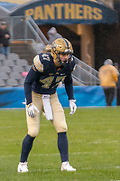 Pitt linebacker Kyle Nunn. The Pitt Panthers football team defeated the Duke Blue Devils 54-45 on November 10, 2018 at Heinz Field, Pittsburgh, Pennsylvania.