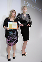 Montreal (QC) CANADA, may 3 2010-  Marie-Sophie Tetrault, designer (L) and model wearing her creation