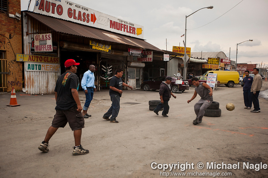 QUEENS, NY -- OCTOBER 19, 2013:  A soccer match started on a slow day in Willets Point on October 19, 2013 in Queens.  Photographer: Michael Nagle for The New York Times