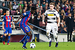 FC Barcelona's Samuel Umiti, VfL Borussia Monchengladbach's Andre Hahn  during Champions League match between Futbol Club Barcelona and VfL Borussia Mönchengladbach  at Camp Nou Stadium in Barcelona , Spain. December 06, 2016. (ALTERPHOTOS/Rodrigo Jimenez)