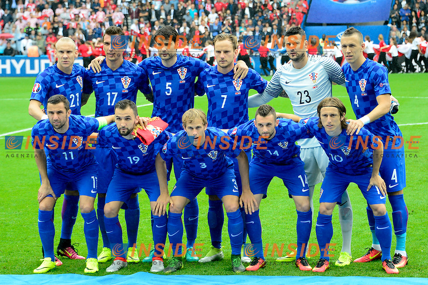Croazia Formazione Line Up Team <br /> Paris 12-06-2016 Parc des Princes Football Euro2016 Turkey - Croatia / Turchia - Croazia Group Stage Group D. Foto Panoramic / Insidefoto