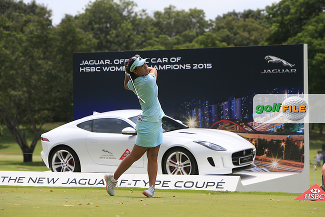 Danielle Kang (USA) on the 17th tee during Round 3 of the HSBC Women's Champions at the Sentosa Golf Club, The Serapong Course in Singapore on Saturday 7th March 2015.<br /> Picture:  Thos Caffrey / www.golffile.ie