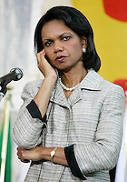 U.S. Secretary of State Condoleezza Rice during  the final news conference after the meeting on the Lebanon crisis at the Farnesina Palace, the Italian Foreign Ministry in Rome July 26, 2006.<br /> il Segretario di Stato americano Condoleezza Rice durante la conferenza stampa al termine del Summit sul Medio Oriente e sulla crisi tra Libano e Israele.<br /> Photo Andrea Staccioli Insidefoto