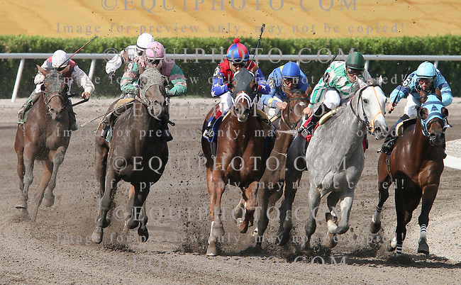 A.P.Arrow(3) with Edgar Prado riding fights past Political Force(1) with Rehoboth(9) on the outside at the top of the stretch on the way to win the $150,000 Grade 3 Skip Away Handicap at Gulfstream Park in Hallandale Florida Gulfstream Park in Hallandale Florida on Saturday, March 31, 2007. Photo By Justin Dernier/EQUI-PHOTO