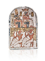 "Ancient Egyptian Stele of Amenemope dedicated to Amenhotep I and Ahmose-Nefertari, limestone, New Kingdom, 19th Dynasty, (1279-1213 BC), Deir el-Medina, Drovetti cat 1454. Egyptian Museum, Turin. white background<br /> <br /> The stele is dedicated to Amenhotep I and Ahmose-Nefertari by the 'Servant in the Place of Truth' Amenemope and Amennakht. The king and the queen are shown sitting on their thrones. Above the sovereign there is a solar disc flanked by two sacred cobras and their cartouches are shown to the right of each of them. In the bottom register Amenemope is shown with his son  Amennakht, who also was a ""Servant in the Place of Truth"", in the pose of adoration."