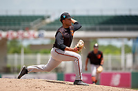 GCL Orioles relief pitcher Jayvien Sandridge (41) delivers a pitch during a game against the GCL Red Sox on August 9, 2018 at JetBlue Park in Fort Myers, Florida.  GCL Red Sox defeated GCL Orioles 10-4.  (Mike Janes/Four Seam Images)