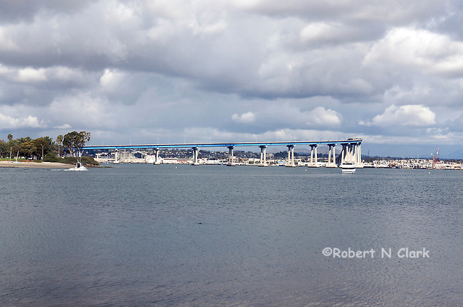 View of the Coronado Bridge over San Diego Bay from the Coronado side