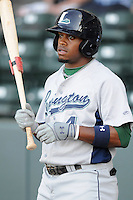 Infielder Delino DeShields, Jr. (4) of the Lexington Legends, a Houston Astros affiliate, in a game against the Greenville Drive on May 2, 2012, at Fluor Field at the West End in Greenville, South Carolina. DeShields Jr. is the No. 8 prospect for the Astros, according to Baseball America. Lexington won, 4-2. (Tom Priddy/Four Seam Images)