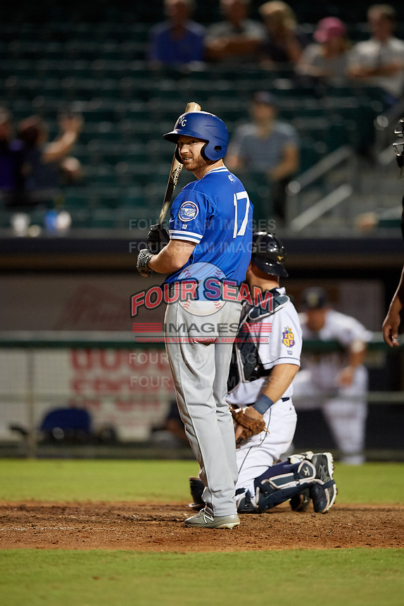 Oklahoma City Dodgers Kyle Garlick (17) at bat during a Pacific Coast League game against the New Orleans Baby Cakes on May 6, 2019 at Shrine on Airline in New Orleans, Louisiana.  New Orleans defeated Oklahoma City 4-0.  (Mike Janes/Four Seam Images)